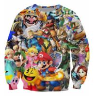 Wholesale Super Smash - Super Smash Bros Brawl New Fashion Womens Mens Princess Peach Link Samus Aran Smash Mario Luigi 3D Print Casual Crewneck Sweatshirt BB15