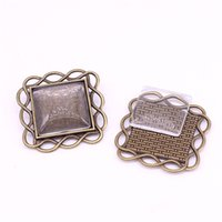 10set Antique Bronze Square 33 * 33mm (Fit 20 * 20mm dia) Подвесные заготовки Fit Jewelry Making Charms + Clear Glass Cabochons A3154-1