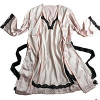 Wholesale Silk Lace Nightdress - New women sexy bathrobe female robe silk spaghetti strap lace sleepwear twinset nightgown set plus size lounge Nightdress