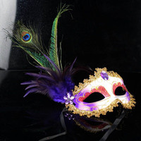 Wholesale Elegant Mardi Gras Masks - Party Masks halloween 6 Color Half Face Elegant Pheasant peacock Feather Venetian Masquerade mask Mardi Gras mask for ball party #H43