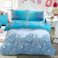 Wholesale orange flowered comforter - Wholesale-4Pcs New Style White Flower 3D Bedding Set of Duvet Cover Bed Sheet Pillowcase Bed Clothes Comforters Cover Queen Size No Quilt