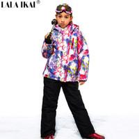 Wholesale Girls S Jackets - Wholesale- New 2016 Children Kids Girls Jacket+Pants Ski Suits Waterproof Snowboarding Skiing Jackets Sports Windproof Breathable HWP006-5