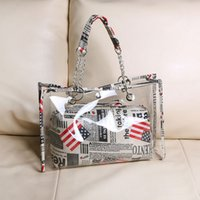 Wholesale Transparent Jelly Bags - Wholesale-New Arrival Fashion Transparent Jelly Beach Bag Summer Big Waterproof Shoulder Bags Handbag Woman Purse Clear Jelly Tote P943