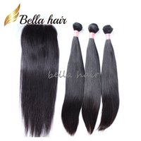 Wholesale Virgin Peruvian Hair 3pc - Peruvian Full Head 4pcs Virgin Human Hair Weft 3pc+1pc Closure(4*4) Natural Color Straight Human Hair Weaves with Closure Bella Hair