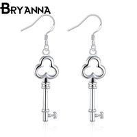 Wholesale Sterling Silver Key Earrings - Bryanna 925 sterling silver dangling earrings for women Fashion Jewelry Wholesale Wedding Gifts key drop earrings E2134
