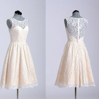 Wholesale Lovely Junior Girl - Lovely Junior Bridesmaid Dresses Vintage Full Lace Short Knee Length Cheap Girls Formal Gowns for Wedding Party Sheer Neckline Sleeveless