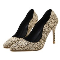 Wholesale Sexy Golden High Heels - N531 2017 Summer Sexy Golden Knitting Surface Sandals Women Party Wedding Shoes Woman Concise Thin Heel High Heels