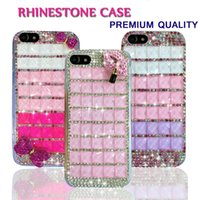 Wholesale Rhinestone Lips Phone - Bling Glitter Phone Back Cover Cases Shockproof for iPhone 7 6 plus 5C Hard PC TPU Back Rhinestone Diamond Lip with OPP Package New Design