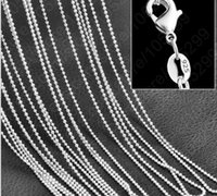 Wholesale Tibet Bone Beads - 20pcs lot 1mm 925 silver plated ball beads bone chain necklace chain jewelry fit for pendant accessories chains Clavicle chain 16-30 inch