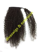 Wholesale Natural Hair Ponytail Piece - Brazilian human hair drawstring ponytail kinky curly pony tail hair piece,clip in real hair wrap around fake ponytail hairpiece 120g