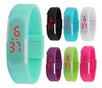 мужчины оптовых-Новая мода мужчины мальчики сенсорный экран светодиодные часы спортивные прямоугольник студентов Силиконовый резиновый ремень браслеты цифровые часы браслет часы