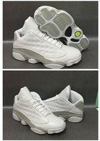 Wholesale Men Shoes Low Cut - 2017 New Air Retro 13 Low Cut pure money Men Basketball Shoes White Metallic Silver Top Quality Retro XIII Dropshipping