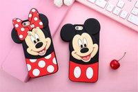 Wholesale Iphone 5s Bow - 3D Cartoons Mickey minnie mouse bow-knot soft silicone case for iPhone 5 5s SE 6 6s plus 4.7 5.5 Fundas Rubber cover Phone cases