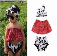 Wholesale Cow Headband - Ins Girls Summer Off Shoulder Floral Tops Cow Pattern Shorts Headband Girls Clothing Sets 3 Piece Suit Baby Girls Clothes Boutique Clothing