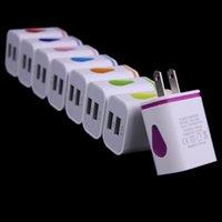 iphone iluminação carregador venda por atacado-Carregador de telefone Light Up Water-drop LED viagem em casa adaptador de energia 5V 2.1A + 1A AC EUA EU Plug carregador de parede para iPhone Samsung HTC LG Tablet