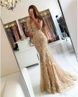 Wholesale Champagne Tulle Mermaid Evening Dresses Robe Longue Femme Soiree Sexy Backless Long Prom Party Gowns