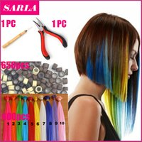 Wholesale Solid Grizzly - Wholesale-600pcs lot Natural Hair Extensions 650 Beads With Hook Pliers Wholesale Loop Grizzly Wholesale Solid Color I Tip Hair Extension