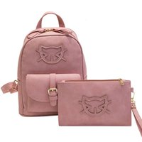 Wholesale Cute Cat Style - 2017 PU Leather Fashion Bag Cute Backpack Women Designer Bag Cat Cotton School Bags For Teenagers Backpacks Girls Hello Kitty