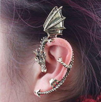 Wholesale Ear Cuff Dragon Mixed - 2017 HOT! Fashion Punk Ear Winged Dragon Earring Cuff Gothic Ear hanging type Cool Earrings Mix Color Earring Clips Jewelry neutral Earring