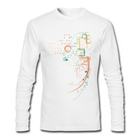 Wholesale Tshirts For Boys - Man long-sleeved t-shirt novelty pattern printed men's tshirts durable fine cotton tees shirt for boy Point and line's art City Grid