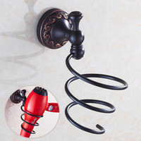 Wholesale Types Hair Dryers - Black Bronze Plating Hair Dryer Holder Rack Oil Brushed Wall Mounted Circular Holder Bathroom Product Accessories