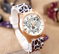 Reloj de Silicona de moda Leopard Head Spots Ladies Women Casual Dress Oro Blanco Pink Rubber Band Pulsera de cuarzo Relojes de regalo Fob