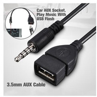 cabo conversor aux usb venda por atacado-3,5 milímetros de áudio macho AUX Jack para USB 2.0 tipo A fêmea OTG Converter Adapter Cable (Cor: Preto)
