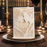 Wholesale Cut Out Bride Groom - Bride and Groom Engagement Wedding Invitations Laser Cut Ivory White Hollow-out Valentine's day gift cards DHL free ship