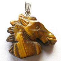 Wholesale Head Gems - YZ120 Beautiful Carved Tiger Eye Gem Horse Head Pendant Bead DIY Jewelry Making stone Random send