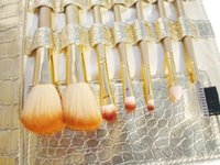 Wholesale Goat Pony Hair Makeup Brushes - Retail 7 Pcs Studio Makeup Brushes Goat Pony Horse Natural Hair Conveniently Portable Travelling Make Up Brush Set
