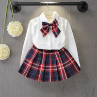 Wholesale 4t Girls Plaid Dress - Autumn&Spring New School Style Fashion Baby Girls Dress Set White Shirt Top With Plaid Knot Tie+Plaid Mini Skirt 3 Pcs Sets 3-7T