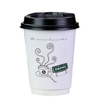 Wholesale Paper Coffee Cups Wholesale - Wholesale- 100Pcs Disposable Kraft Paper Coffee Cups Party Home Paper Insulated Drinking Cup with Lid 8oz-color random