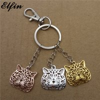 Wholesale Exotic Fashion Rings - Elfin 2017 Trendy Exotic Cat Key Chains Gold Color Silver Color Fashion Jewellery Exotic Cat Key Rings