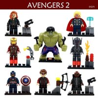 Iron Man Building Blocks Pas Cher-8pcs / set Action Figure Movie Avengers Super Hero Hulk Black Widow Iron Man Capitaine America Building Blocks Puzzle Cadeau Jouets pour enfants