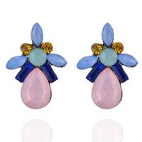 Wholesale Stone Earrings For Women - 4 Colors New Cute Stud Earrings For Women Crystal Stones Charms Earrings Lady Party Geometric Earring 10PRS