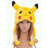 Wholesale kids winter animal hats - Anime Pikachu Fancy Costume Warmer Hat Beanie Unisex adult kids Fluffy Plush Warm cartoon Cap Scarf Cosplay performance props XMAS gift