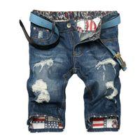 Wholesale Men S Denim Pants Wholesale - Wholesale- VESONAL 2017 Summer High Quality Hole Ripped Denim Jeans Shorts Men Straight Mens Fashion Casual Short Pants Pantalones V13146
