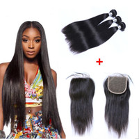 Wholesale Human Hair Straight 1b - Brazilian Straight Human Virgin Hair Weaves With 4x4 Lace Closure Bleached Knots 100g pc Natural Black Color 1B Double Wefts Hair Extensions