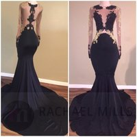 Wholesale Evening Dress Babyonline - Babyonline Sexy Black Mermaid Long Sleeve Prom Dress See Through Appliques Lace Evening Party Gown Sweep Train Robe De Soiree