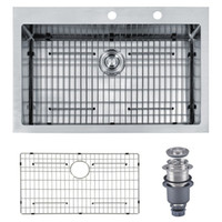 overmount sink - From USA Overmount quot x22 quot x10 quot Inch Topmount Stainless Steel Handmade Kitchen Sink With Bottom Grid Ga Single Bowl With Faucet Holes