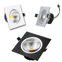 Wholesale black led recessed light resale online - Silver White Black Square Led Downlights W W W W Dimmable Led Recessed Ceiling Down Lights Led Drivers