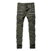 All'ingrosso-2016 Mens Skinny Jeans Biker multi tasche Cargo Pant Army Green Mens pieghe Matita Jeans P2086