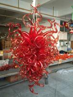 rote blase kronleuchter licht großhandel-Moderne Rubinrot Große Kronleuchter LED Lichtquelle 100% Mundgeblasene Blase Glas Kronleuchter Leuchte