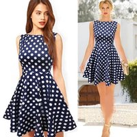 Wholesale Sleveless Mini Dress - 2017 summer women dot sleveless dress ladies casual dresses