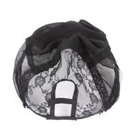 Wholesale Hair Human Caps - Cheap human hair U part lace wig cap Medium Size Lace Wig Caps With Adjustable Straps