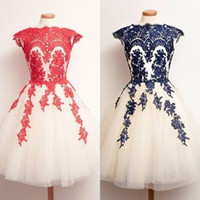 Wholesale Two Tone Wedding Appliques - 2017 Gorgeous Wedding Guest Dress Red Navy Blue Ivory White Champagne Custom Made Lace Appliques Two Tone Short Bridesmaid Dresses