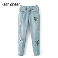 Wholesale Tear Jeans For Women - Fashioneer European Fashion Jean With Hole Spring Summer 2016 Washed Slim Torn Ripped Jeans For Women Vintage Pantalon Femme Straight Pants