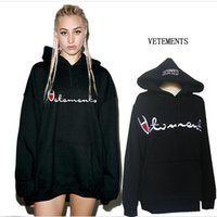 Wholesale Men Cashmere Pullover - Winter VETEMENTS Letter Print Hooded sweater with the oversize letter embroidered men and women plus cashmere loose thick hoodies