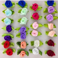 Wholesale Diy Small Flowers Ribbon - 100Pcs DIY Satin Ribbon Roses Flower Appliques Scrapbooking Sewing Handmade Small Wedding Valentine's Party Craft Decor 9 Colors