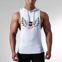 Wholesale Heat Vest - Men's pure cotton printed strip hoodie gym vest new heat